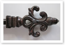 Custom iron finial, Catalog number 110, Length 4in. Height 3 3/4in.