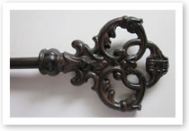 Custom iron finial, Catalog number 126, Length 5 1/2in. Height 4in.